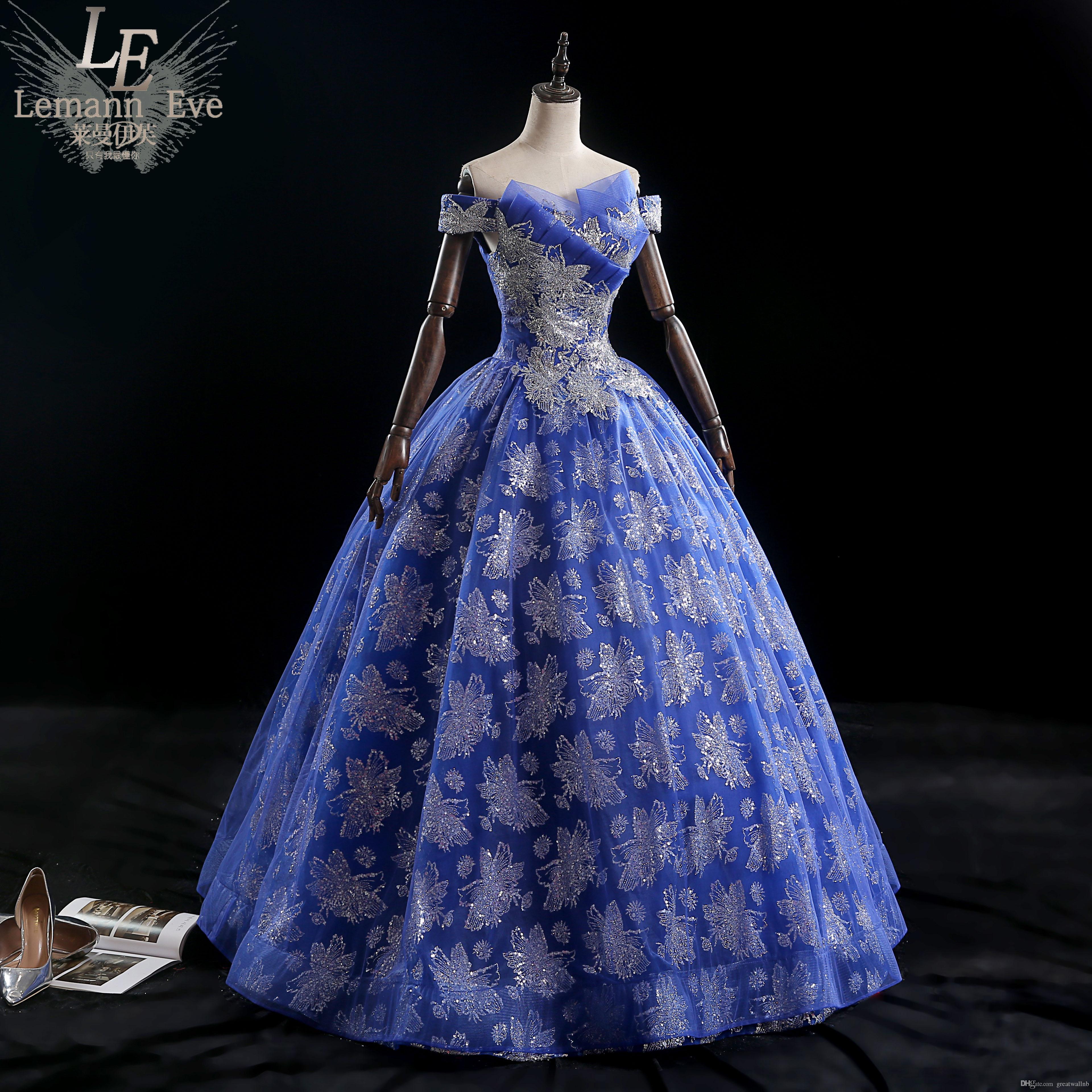 Abito medievale da ballo in carnevale rococò con glitter blu royal 100% Abito medievale Abito rinascimentale regina cosplay Vittoriano / Marie Belle