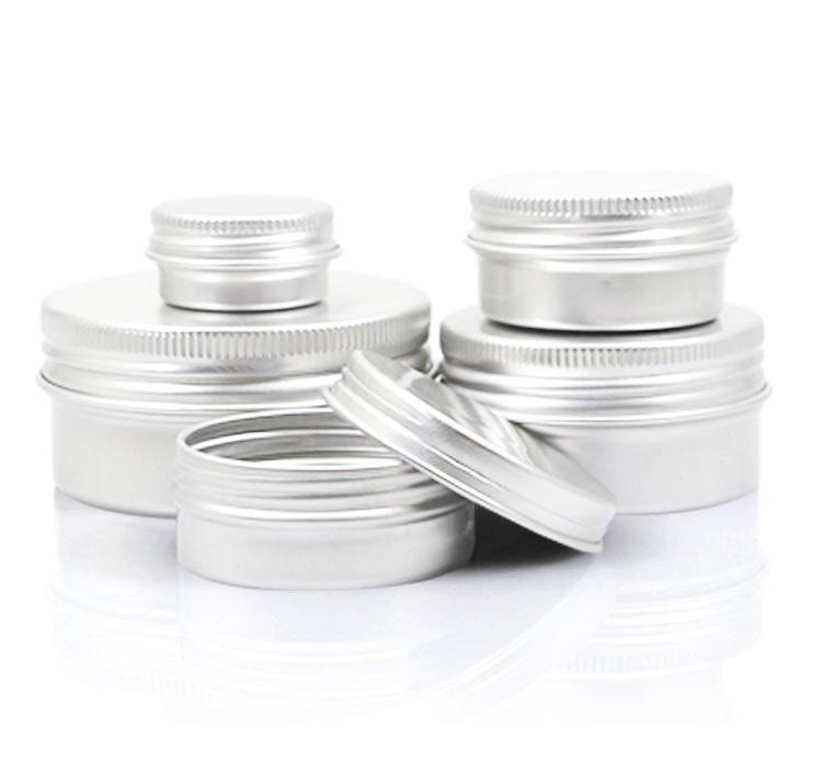 Leere Aluminiumlippe-Balsam-Container Kosmetische Creme-Gläser Zinnhandwerk Pot Flasche 5 10 15 30 50 100g JXW490
