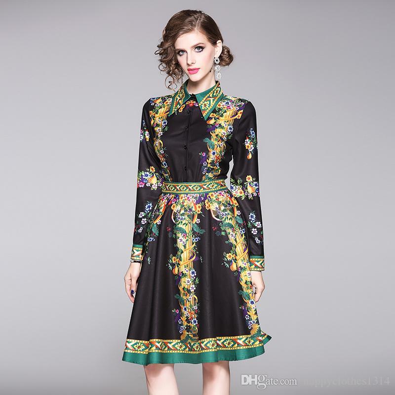 Lüks Zarif Baskı Siyah Gömlek Giydirme Plus Size Kadınlar İlkbahar Sonbahar Kış Moda Seksi İnce Parti Balo Uzun Kollu Bayan Pist Elbiseler