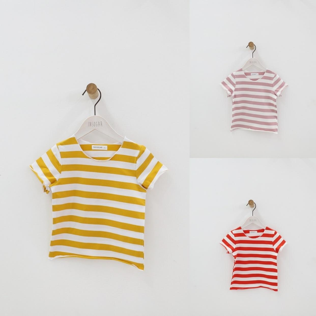 Summer Children T Shirt Casual Simple Baby Girls Boys Soft Cotton Tops Kid Toddler Short Sleeve Striped T-shirts Kids Clothing T191013