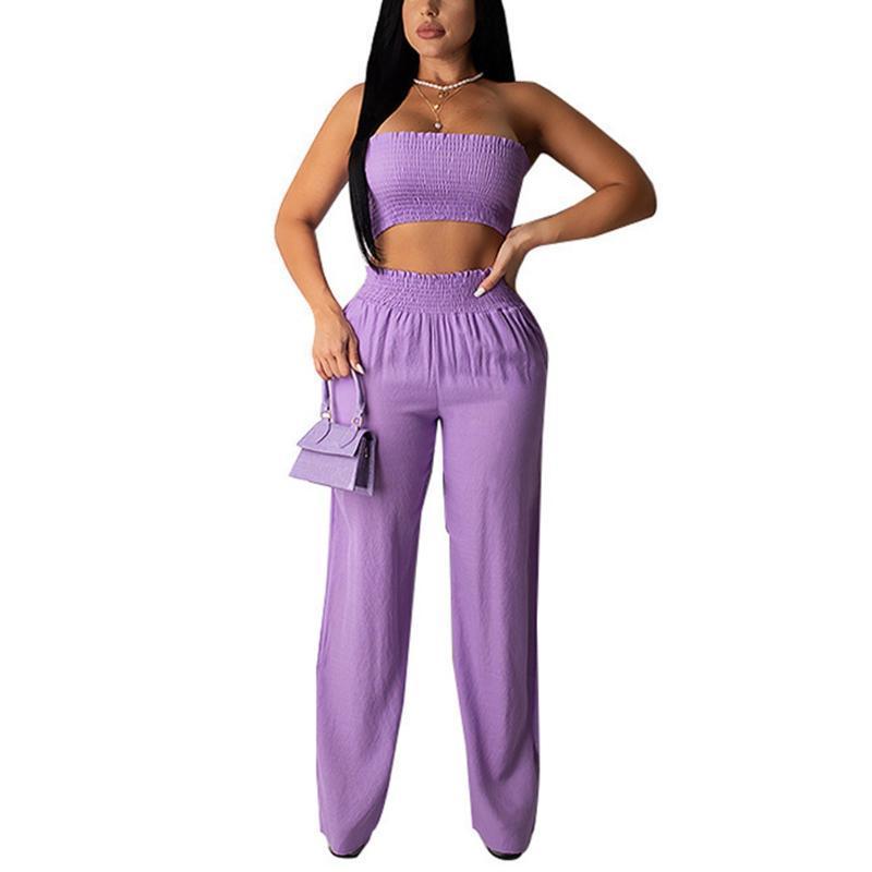 새로운 패션 여성 숙녀 여름 포장 된 상단 flouncing 바지 느슨한 높은 허리 사이드 포켓 탄성 홈 체육관 스포츠 캐주얼 세트