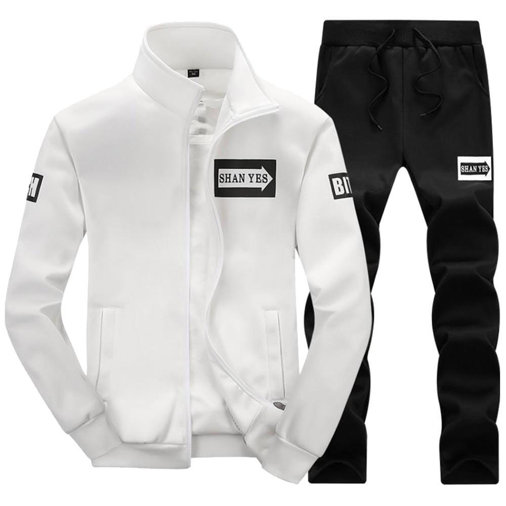 2019 Fashion Tracksuit Sport Men Men's Thicken Sweatshirt Top Pants Sets Sports Suit Tracksuit Running Autumn Winter Sets