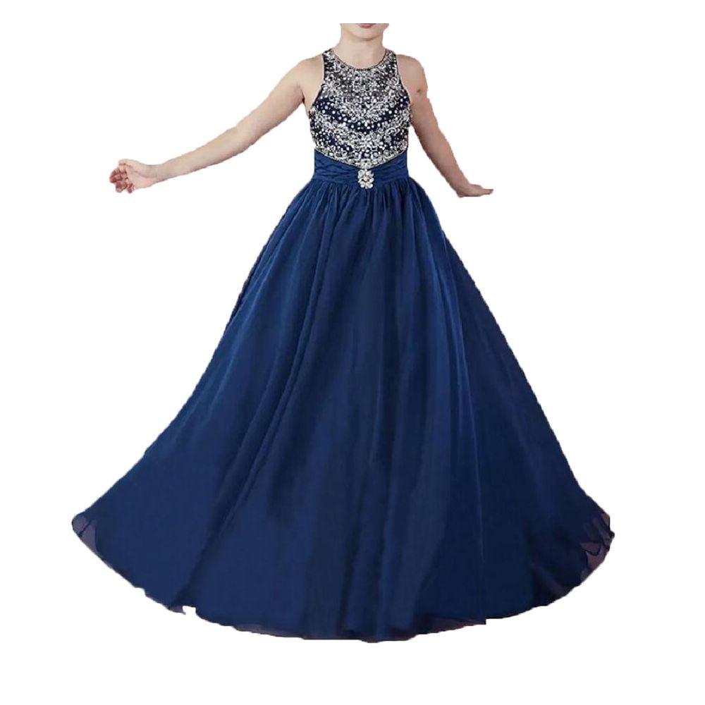 Beaded Crystals Navy Blue Chiffon Girls Pageant Klänningar 2020 Juvel Neck Liten Barn Formell Födelsedag Klänning Lace-Up Back Flower Girls Dresses