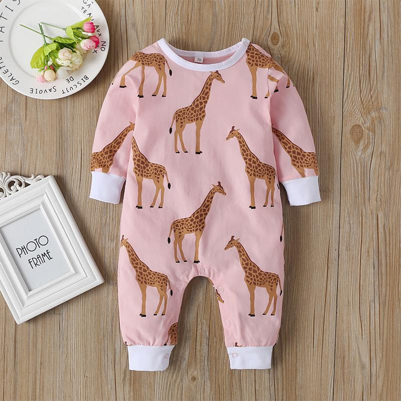 Baby Round Neck Long Sleeve Pure Color Onesie Crawling Clothes