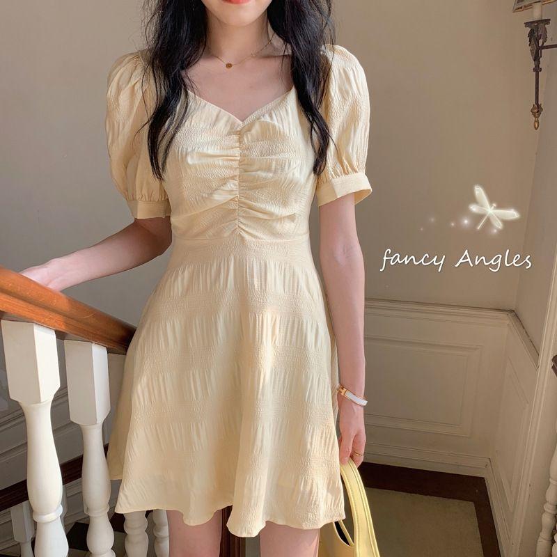 Francês V-neck vestido de linha A- verão chiffon 2020 novo estilo coreano elegante linha de emagrecimento de comprimento médio mQs08 moda vestido de cintura A- feminino