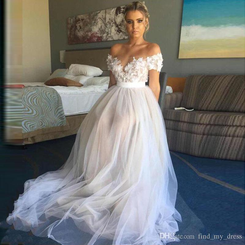 White Lace Sash Sexy Off Shoulder Boho Wedding Dresses Colorful A Line Appliques Tulle Short Sleeve Summer Beach Bridal Gown Formal Party