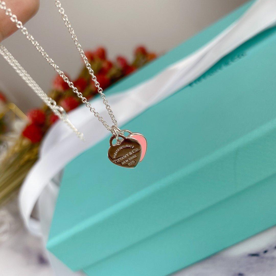 925 pembe iki kalp Emaye kolye, minyon kızlar için çok küçük klavikula zincir, sevgi hediyeler için çok uygundur, sevgi temsil süper exquisi