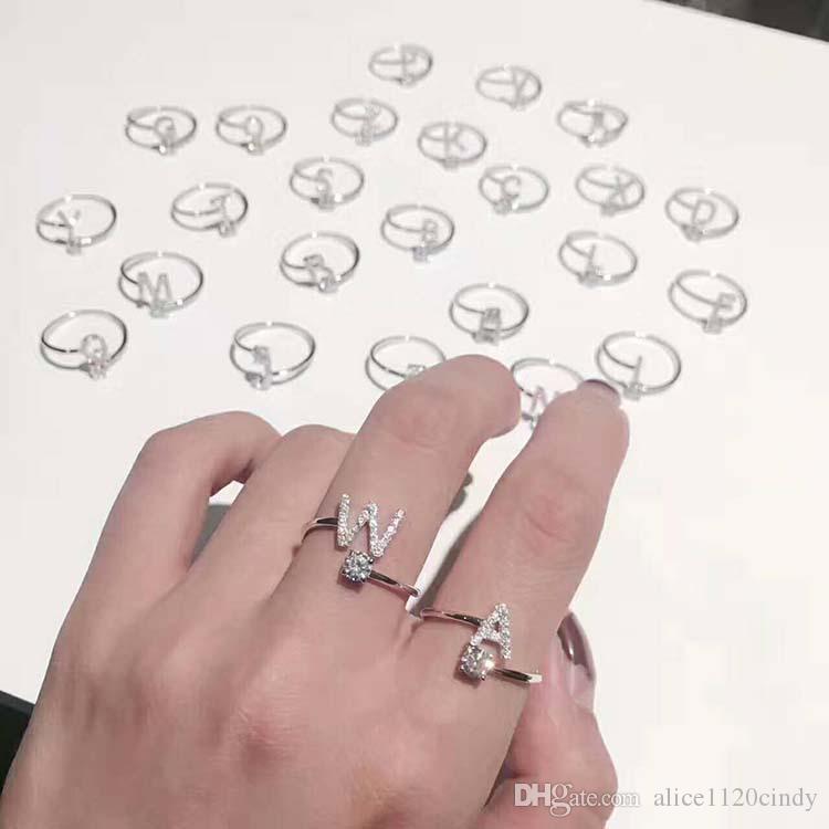 Mode initial Zircon cubique anneaux lettre strass ouvert doigt diamant Bague argent 925 sterling Femme engagement bijoux Fête de mariage