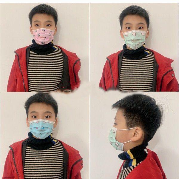 Los niños de espesor desechable contra la contaminación Máscaras Boca Cara Niño Niña de dibujos animados de tres capas máscaras no tejidas niños a prueba de polvo respirable al por menor