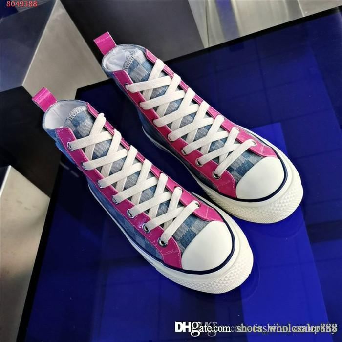 Womens High Top Leisure Sneakers Canvas printing Mosaic color mixing Breathable ankle boots running sneaker