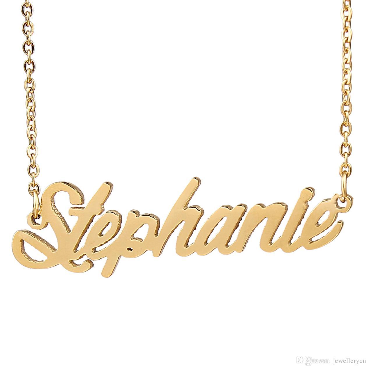 """Personnalisé personnalisé 18K plaqué or en acier inoxydable Script Name collier """"Stephanie"""" charme plaque signalétique collier bijoux cadeau NL-2430"""
