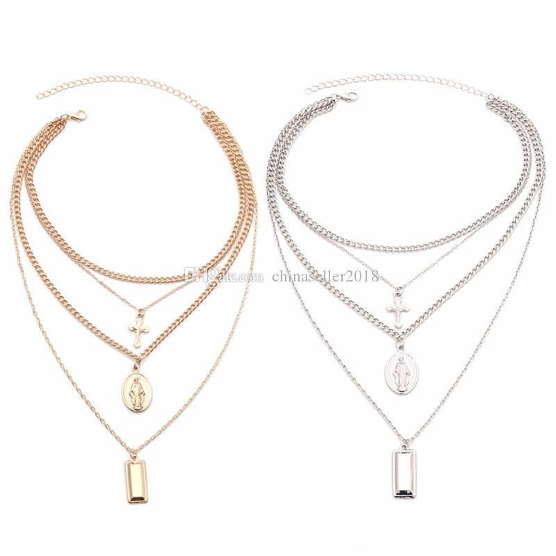 Multilayer Crucifix Cross Virgin Mary Pendant Chain Choker Necklace Goddess Rectangle Pendant Christian Necklaces Women Charm Jewelry