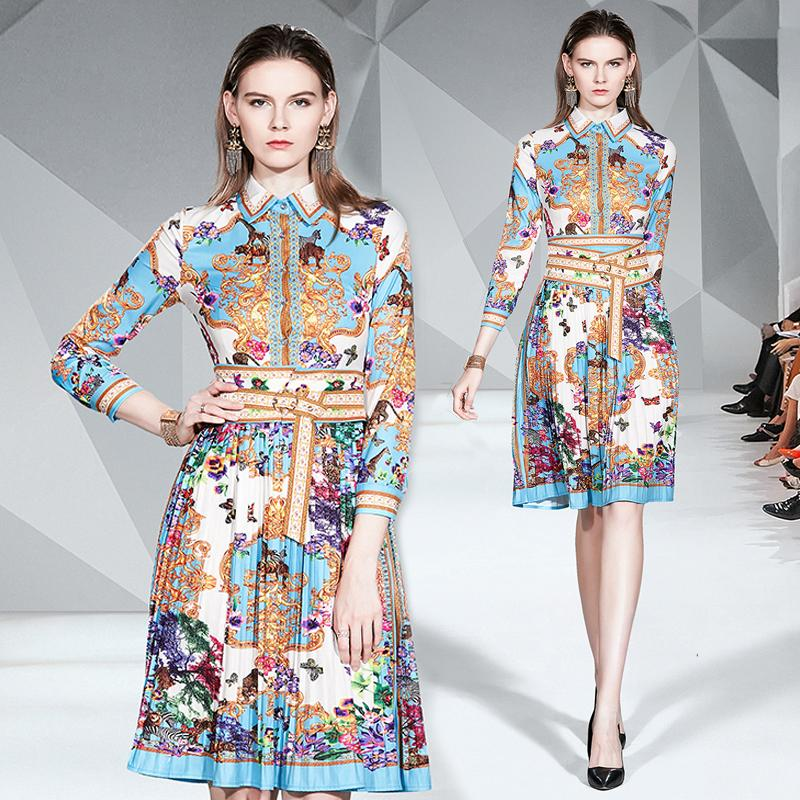 Robe de soirée New Vintage Arrivée Palais Imprimer Slim élégant à manches longues de la mode Soirée Dîner de bal Rencontrer des femmes Robes 3372