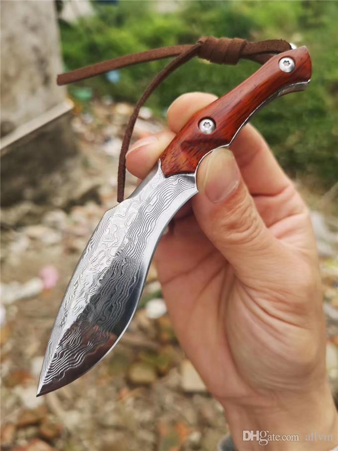 High Quality New Damascus Fixed Blade Knife VG10 Damascus Steel Blade Full Tang Rosewood Handle With Wood Sheath