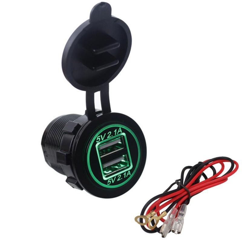 اكسسوارات للدراجات النارية سيارة شاحن USB للماء المزدوجة USB LED مزدوج فتحة دراجة نارية ATV / RV قارب تعديل 12V-24V