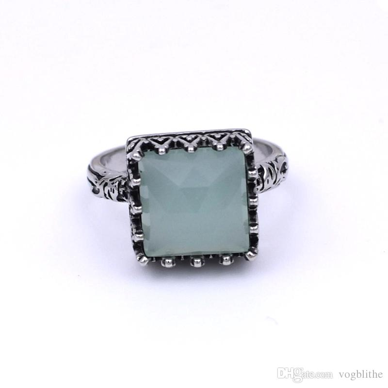 Fashion  Women Crystal Silver Green Square Stone Wedding Ring Jewelry size 6-10