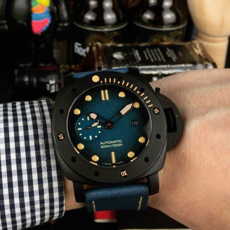 hombre del diseñador relojes reloj automático 316 fina de lujo del reloj del hombre de línea de 47 mm de acero relojes reloj mecánico libre del envío