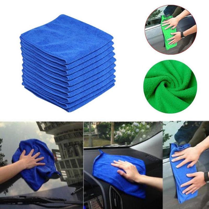 10PC Bleu Nettoyage de voitures Détailler Mirofiber doux polonais Chiffons serviette haute capacité d'absorption, peut contenir jusqu'à 8 fois son poids en eau