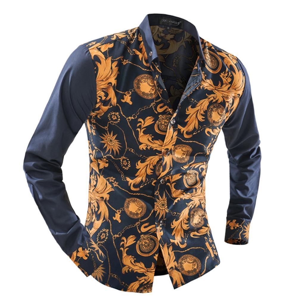 vendu dans le monde entier haut fonctionnaire haute qualité Acheter Hommes Chemise 2019 Nouveaux Vêtements Hommes Mode Imprimé Chemises  À Manches Longues Chemise De La Mode Slim Fit Chemise De $27.93 Du ...