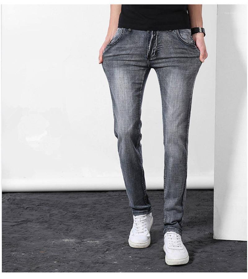 Calças Lápis High Street Zipper Fly Bleached Moda Jeans Marca Designer Mens Jeans Masculino estiramento magros