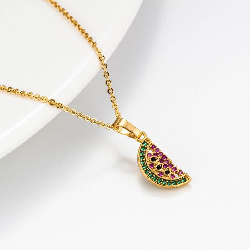 Yishan 1pc 20 * 7 мм Арбуз ожерелье ключицы цепи Сладкое лето ожерелье аксессуары фрукты девушки Сердце ювелирные изделия
