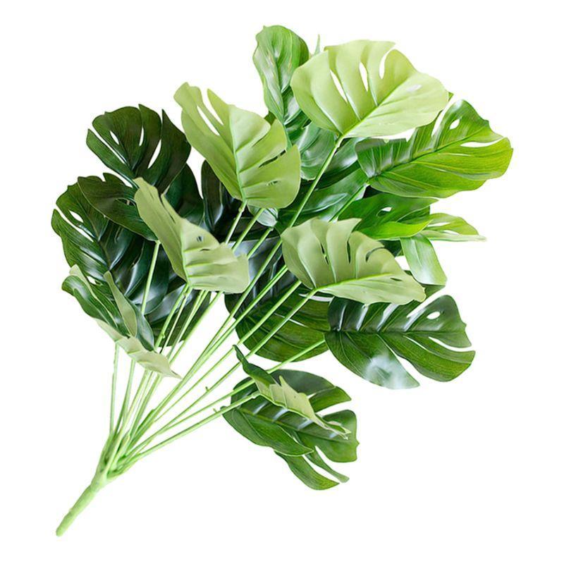 18 Köpfe Künstliche Pflanzen Tropical Green Turtle Blätter Blatt Bouquet Garten Heim Mexikanische Herbst Dekoration
