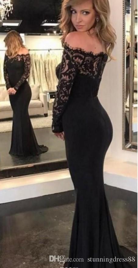 Sexy preto fora do ombro vestidos de baile de noite com mangas compridas Barato bainha Lace ilusão Designer Hollow Back Formal pageant vestidos