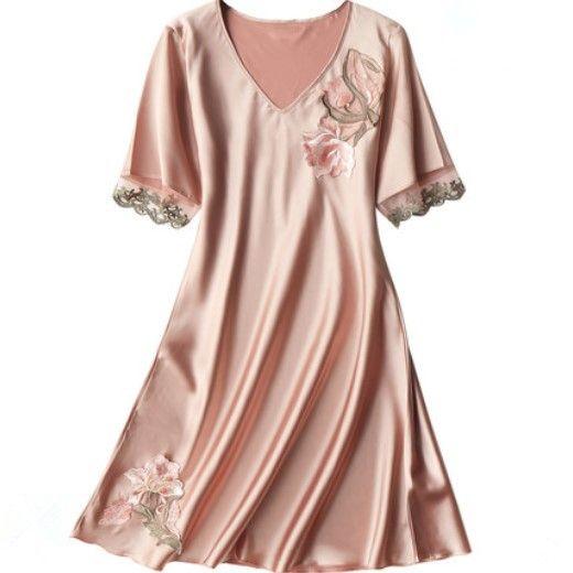 قصيرة الأكمام الحرير القماش لربيع وصيف الملابس للنساء المنزل منشفة حمام المنزل مثير ليلة ثوب النوم