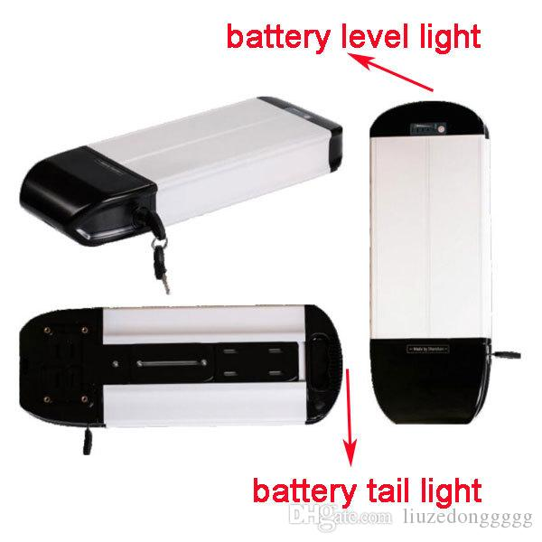rear rack 36v 48v 52v 10ah lithium li-ion giant ebike battery with tail light and level show
