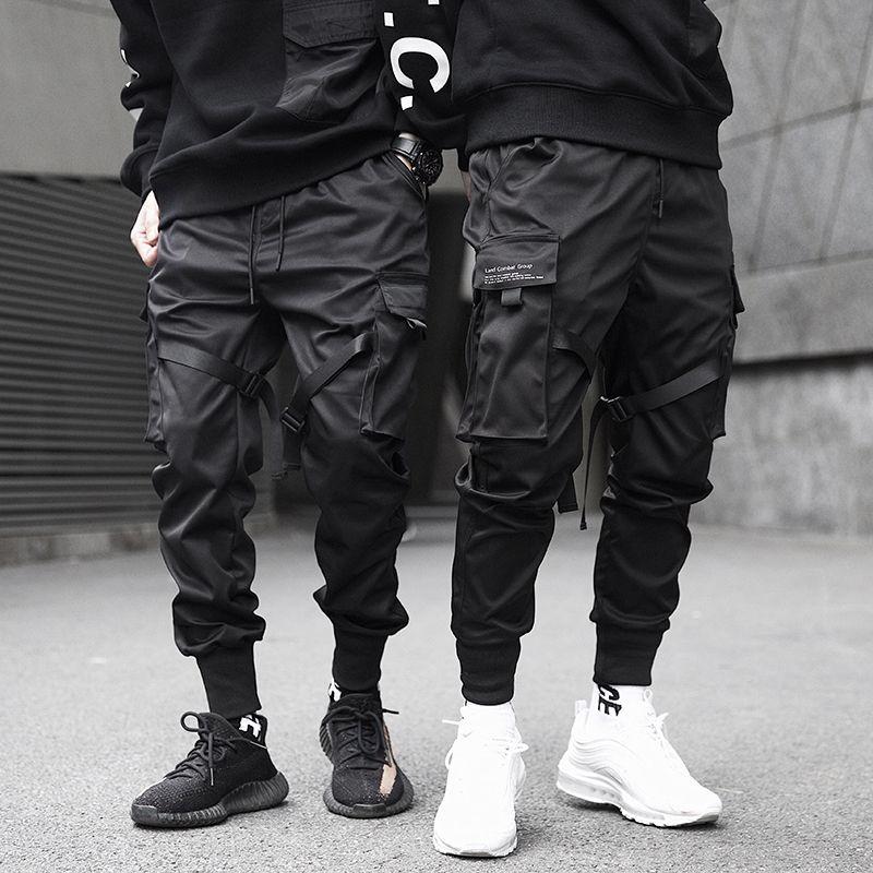 الرجال أشرطة كتلة اللون الأسود الجيب شحن سروال أسود حريم ركض المتناثرة بنطال رياضة بنطلون الهيب هوب