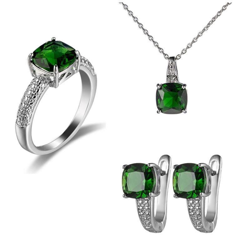 Luckyshine NUOVI gancio Orecchini Anelli Ciondoli Imposta quadrato regalo Quarzo verde argento gemme collana SUA Australia partito di festa