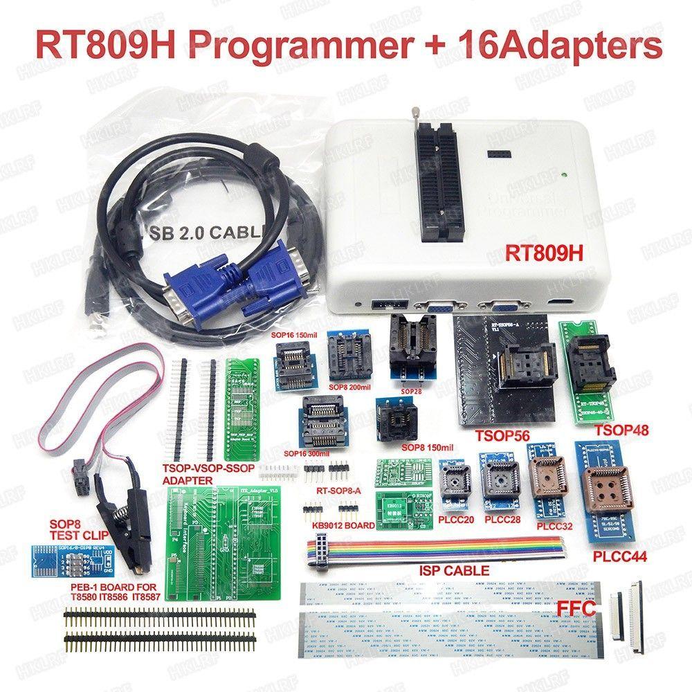 RT809H EMMC-NAND 플래시 프로그래머 +16 어댑터 + TSOP56 TSOP48 SOP8 TSOP28 어댑터 + SOP8 Cabels가있는 테스트 클립 EMMC-NAND
