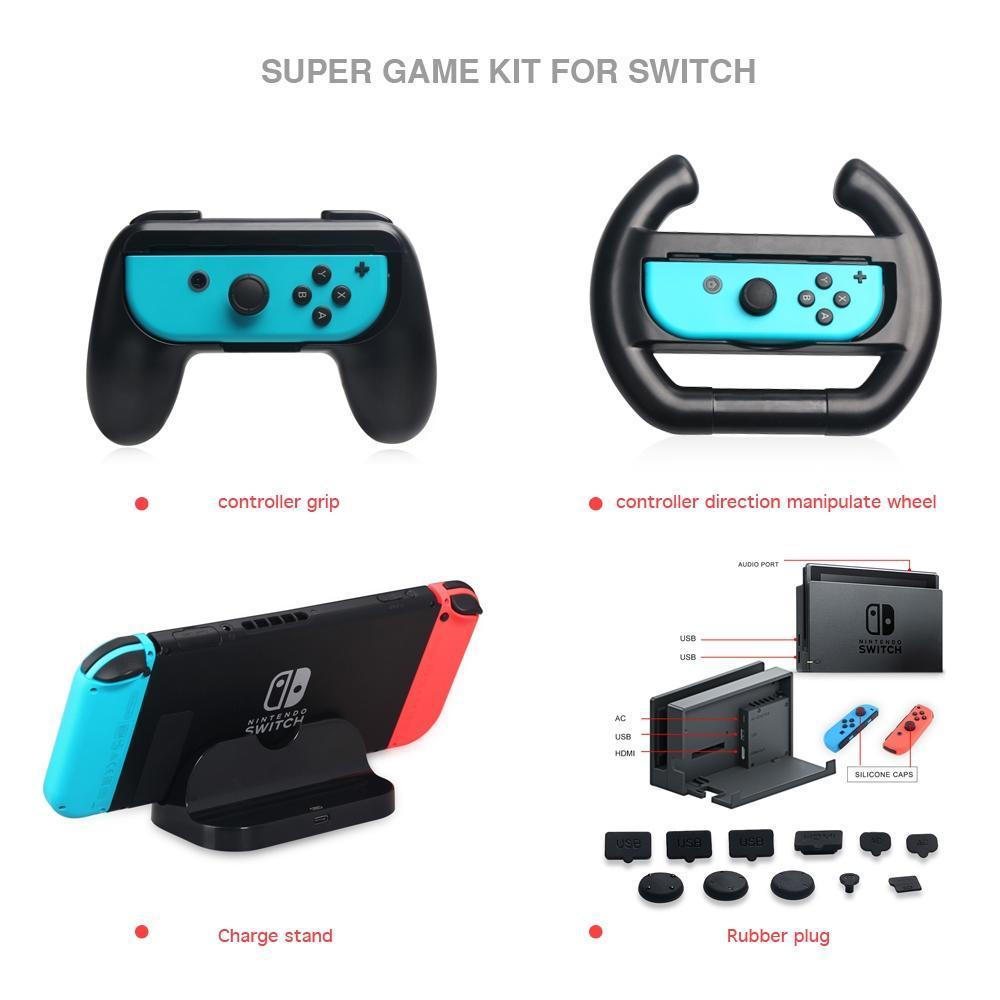 닌텐도 스위치 게임 부속품을 위한 DOBE 충전기 선창 그립 홀더 핸들 먼지 방지용 커버 게임 키트