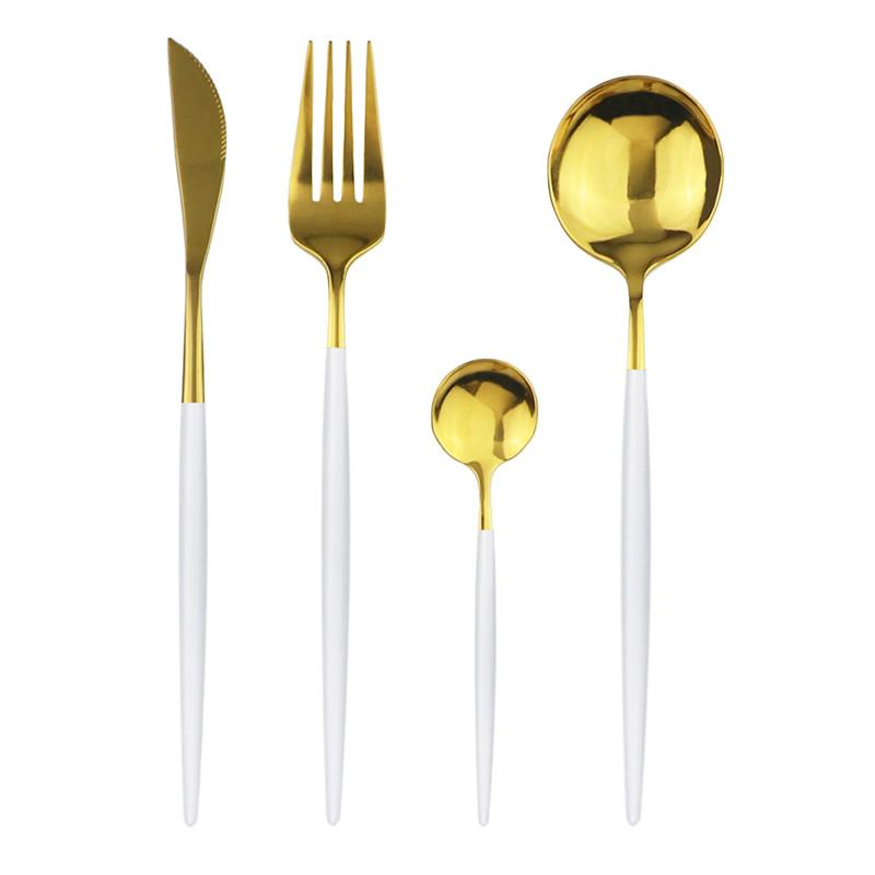 Romantic Dinner Set 304 Stainless Steel Silverware Flatware Knife Fork Spoon Western Portable Cutlery Set Kitchen Accessories Home Party