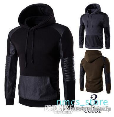 Good Quality Men &#039 ;S Hoodies Fashion Casual Leather Black Hoodies Spring Winter Coat Sweatshirts Men &#039 ;S Clothing P