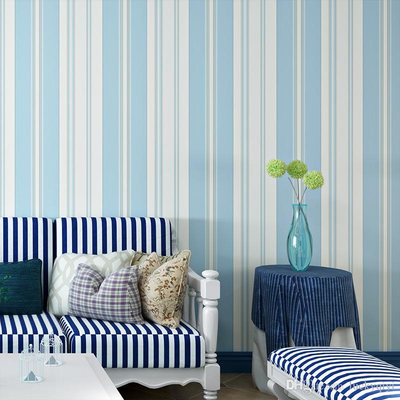 따뜻한 세로 줄무늬 흰색 배경 벽지 친환경 아이 방 침실 벽지와 신선한 지중해 블루, 핑크 벽지
