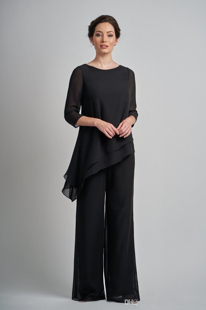großhandel schwarze hosenanzüge kleider für die brautmutter outfit  zweiteiliges kleidungsstück abendgarderobe hosenanzüge für das formelle
