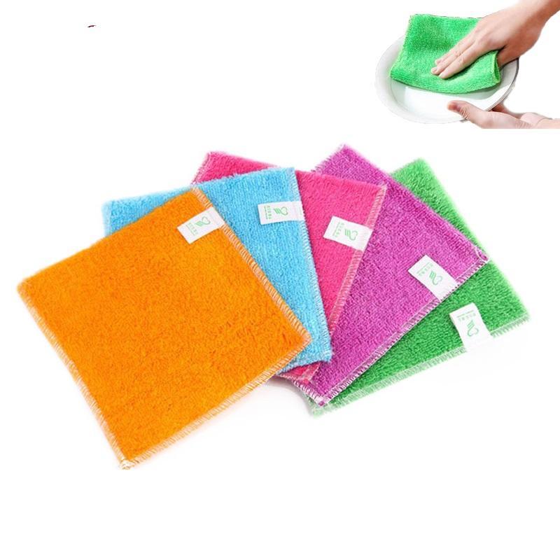 محفظة 5pcs صحن القماش الخيزران الألياف عالية الكفاءة مكافحة الشحوم تنظيف منشفة غسل منشفة ماجيك مطبخ التنظيف المنزلية المسح خرقة