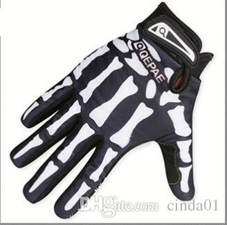 Hombres Diseñador Biker Racing Guantes Verano Invierno Cinco Dedos Guantes Cráneo protegido Dedo Impreso Guantes transpirables
