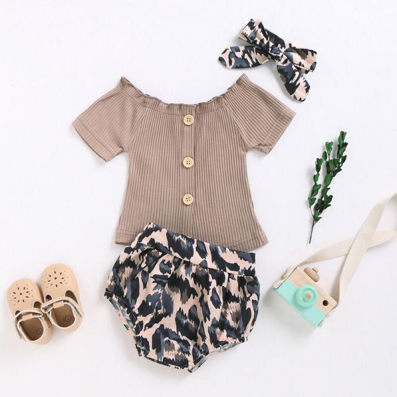 0-18m Tout-petit bébé fille Vêtements Étoffes Set Brown manches courtes Tops T-shirt solide Pantalons Leopard Shorts bébé Summer Girls Outfit