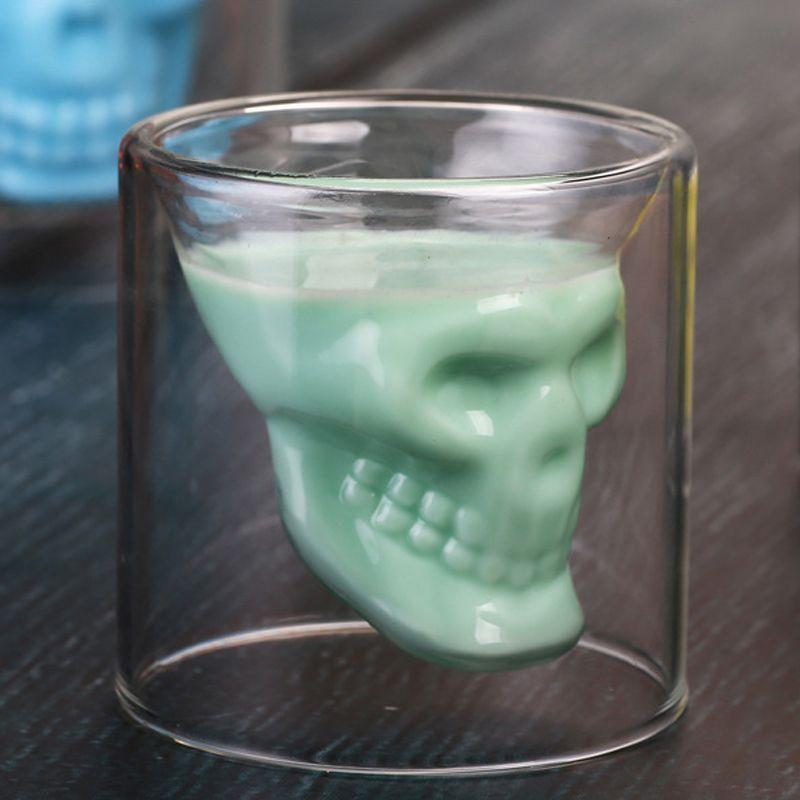 Creative Bar Drinkware Drinkware Crânio Transparente Copo de Vinho Crânio Tiro De Vidro de Cerveja Glassky Whisky Vidros Cristal Esqueleto Água Cup DH1158