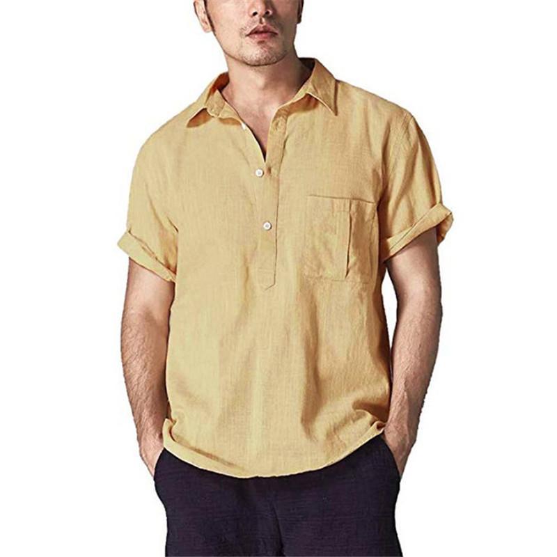 Katı Renk Erkek Tasarımcı T Gömlek Yaka Casual Erkek Moda Tişörtlü Keten Polo Erkek Giyim