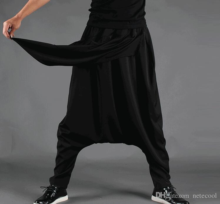 Taglie forti Uomo Casual Drappeggio sul cavallo Pantaloni Harem Hip Hop Pantaloni Pantaloni larghi da ballo Pantaloni stile punk gotico Harem Uomo