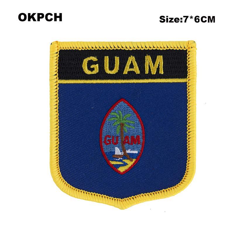 GUAM New Guinew Country Flag Patches Eisen auf Patches für Kleidung in elektrische Bügeleisen nähen auf Aufnäher Armee-Schild Form PT0256-S