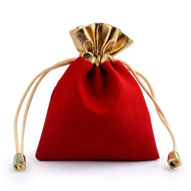 레드와 골든 벨벳 선물 가방 보석 포장 벨벳 직물 졸라 매는 끈 주머니 크기가 다른 도매 100 개 조각에 대한