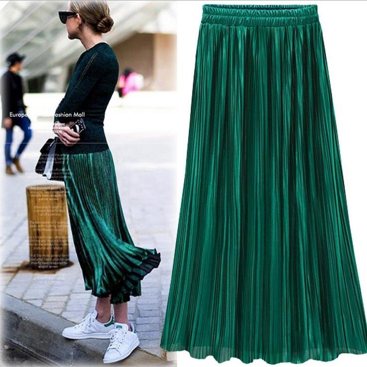 Falda plisada de oro de plata para mujer Vintage de cintura alta falda 2018 faldas largas de verano nueva moda falda metálica femenina