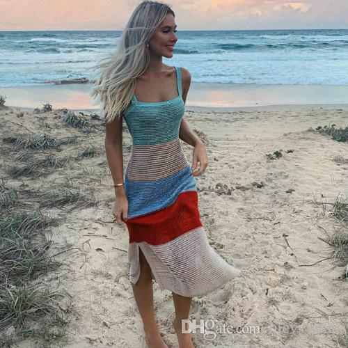 Knitted Crochet Strap Patchwork Beachwear Dress Women Summer BOHO Sundresses Sleeveless Sexy Casual Swimwear Striped Dresses Maxi Long Dress