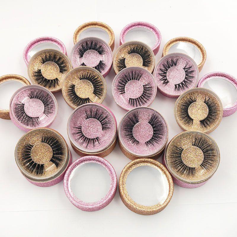 3D Mink Eyelashes Eye Makeup Mink Fake Lashes Soft Natural Thick Eyelashes Eye Lash With Round Box Package Extension Beauty Tools GGA2468