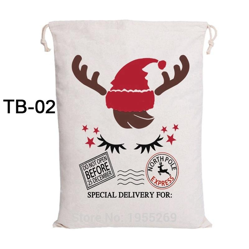 100pcs Christmas Candy Bag Santa Sacks Drawstring Canvas Bag Santa Claus Gift Kids Toy Personalized Wedding Party Decorations
