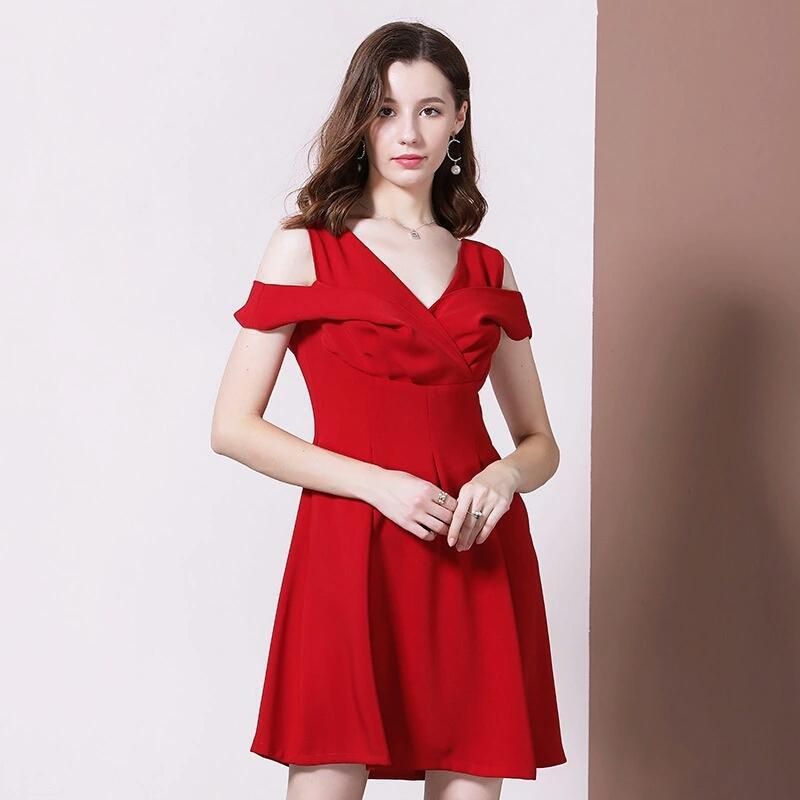 Frauen sexy Kleid Partei Abend Luxus-Designer-V Ansatz Frauen Kleider vintage klassisch schwarz rote Abendessen Kleider Reich Minikleider Geschenk S-XL